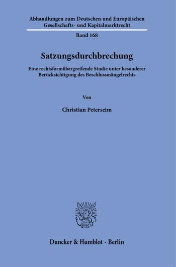 Cover: Satzungsdurchbrechung