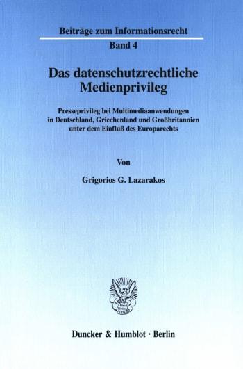 Cover: Das datenschutzrechtliche Medienprivileg
