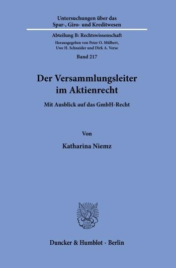 Cover: Der Versammlungsleiter im Aktienrecht