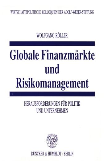 Cover: Globale Finanzmärkte und Risikomanagement