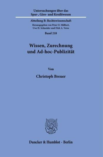 Cover: Wissen, Zurechnung und Ad-hoc-Publizität
