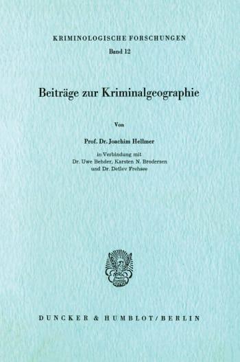 Cover: Beiträge zur Kriminalgeographie