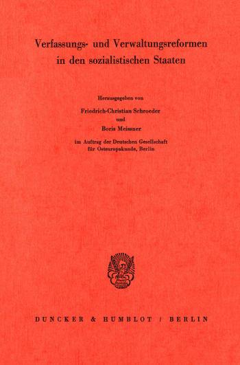 Cover: Verfassungs- und Verwaltungsreformen in den sozialistischen Staaten