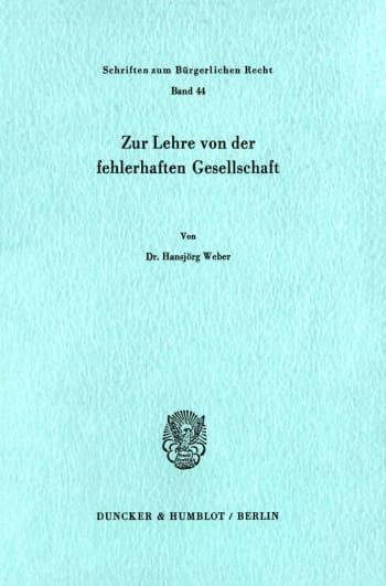 Cover: Zur Lehre von der fehlerhaften Gesellschaft