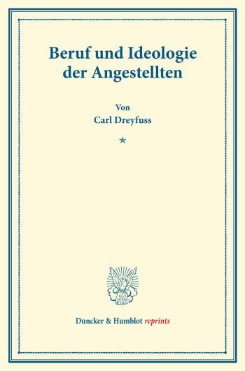 Cover: Beruf und Ideologie der Angestellten