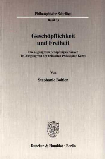 Cover: Geschöpflichkeit und Freiheit