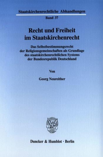 Cover: Recht und Freiheit im Staatskirchenrecht