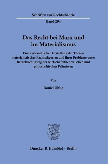 Cover: Das Recht bei Marx und im Materialismus