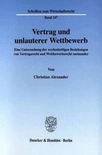 Cover: Vertrag und unlauterer Wettbewerb