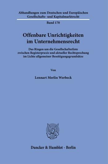 Cover: Offenbare Unrichtigkeiten im Unternehmensrecht