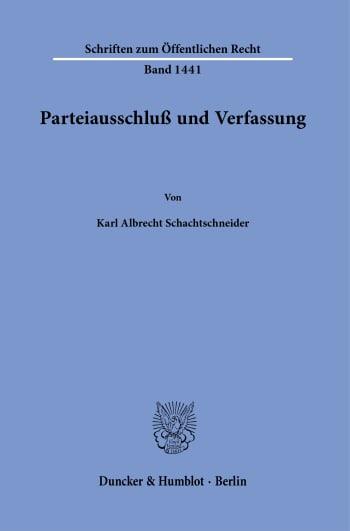 Cover: Parteiausschluß und Verfassung