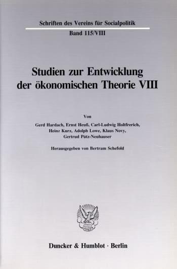 Cover: Deutsche Nationalökonomie in der Zwischenkriegszeit