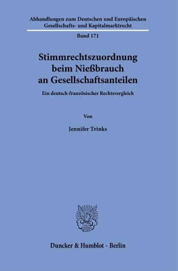 Cover: Stimmrechtszuordnung beim Nießbrauch an Gesellschaftsanteilen