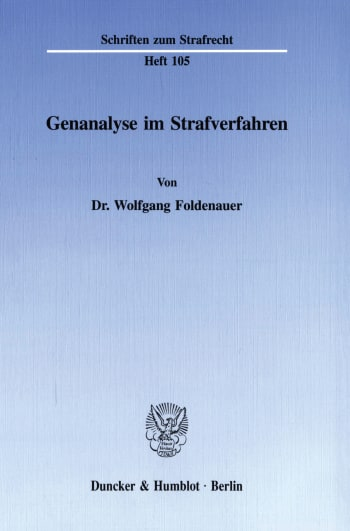 Cover: Genanalyse im Strafverfahren