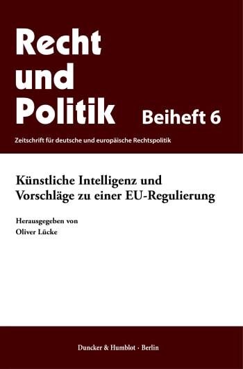 Cover: Künstliche Intelligenz und Vorschläge zu einer EU-Regulierung