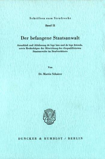 Cover: Der befangene Staatsanwalt