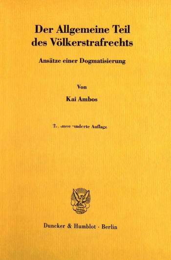Cover: Der Allgemeine Teil des Völkerstrafrechts