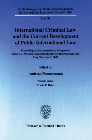Cover: International Criminal Law and the Current Development of Public International Law