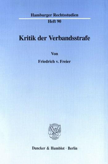 Cover: Kritik der Verbandsstrafe