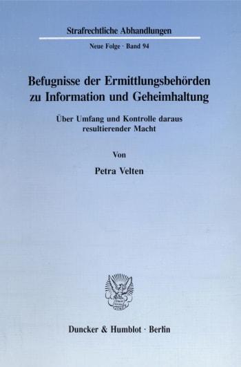 Cover: Befugnisse der Ermittlungsbehörden zu Information und Geheimhaltung