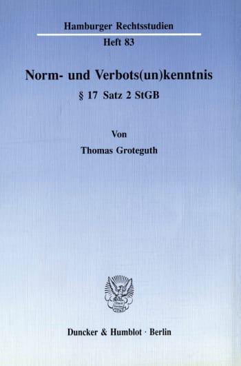 Cover: Norm- und Verbots(un)kenntnis § 17 Satz 2 StGB