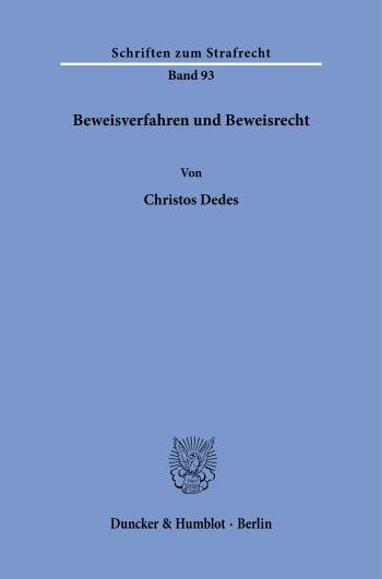 Cover: Beweisverfahren und Beweisrecht