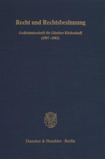 Cover: Recht und Rechtsbesinnung