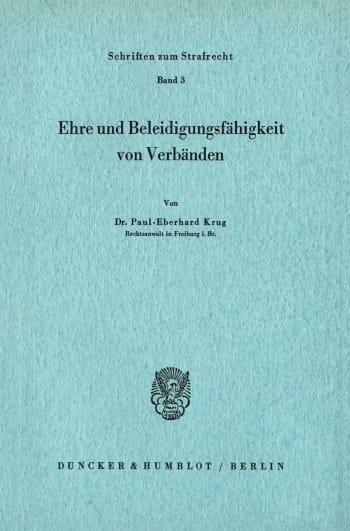 Cover: Ehre und Beleidigungsfähigkeit von Verbänden