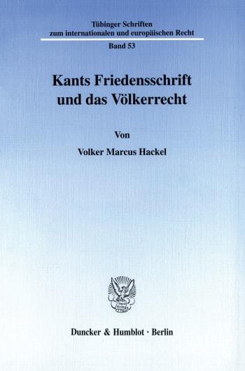 Cover: Kants Friedensschrift und das Völkerrecht