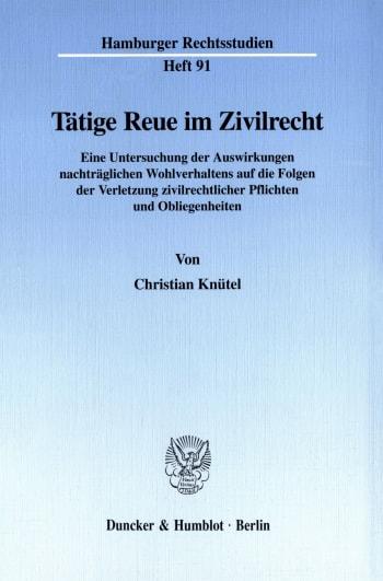 Cover: Tätige Reue im Zivilrecht