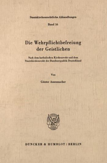 Cover: Die Wehrpflichtbefreiung der Geistlichen