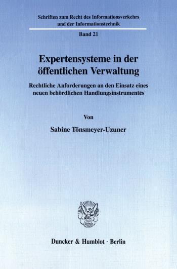 Cover: Expertensysteme in der öffentlichen Verwaltung