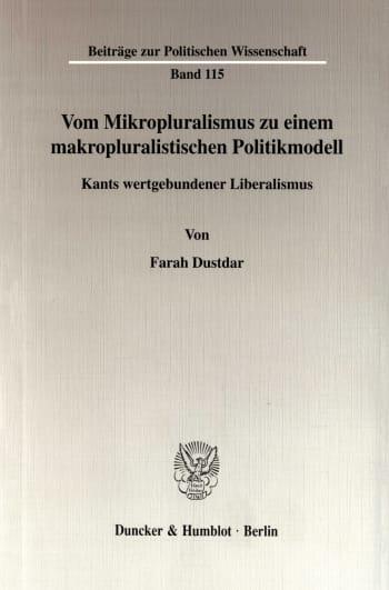 Cover: Vom Mikropluralismus zu einem makropluralistischen Politikmodell