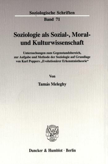 Cover: Soziologie als Sozial-, Moral- und Kulturwissenschaft