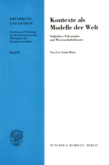 Cover: Kontexte als Modelle der Welt