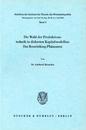 Cover: Schriften des Instituts für Theorie der Wirtschaftspolitik (ITW)