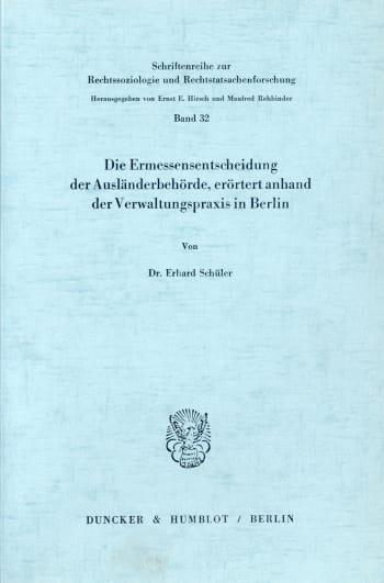 Cover: Schriftenreihe zur Rechtssoziologie und Rechtstatsachenforschung (RR)