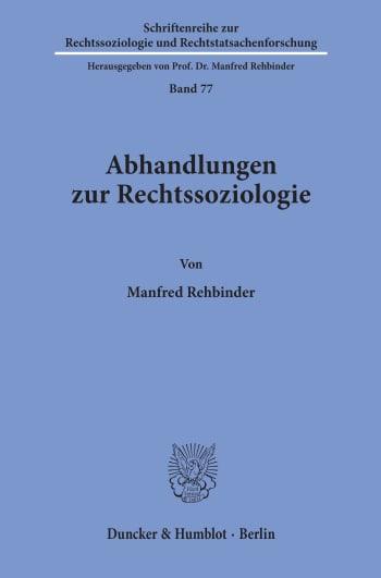 Cover: Abhandlungen zur Rechtssoziologie
