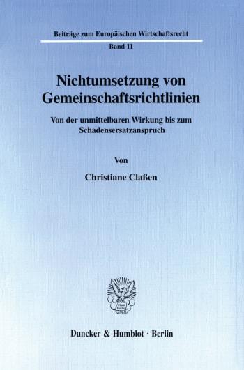 Cover: Nichtumsetzung von Gemeinschaftsrichtlinien