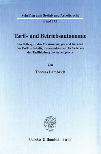 Cover: Tarif- und Betriebsautonomie