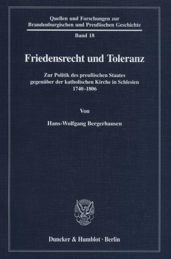 Cover: Friedensrecht und Toleranz