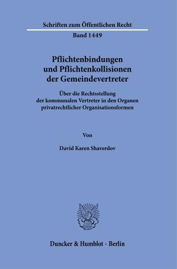 Cover: Pflichtenbindungen und Pflichtenkollisionen der Gemeindevertreter