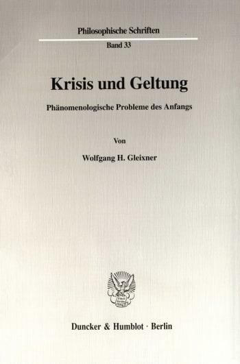 Cover: Krisis und Geltung