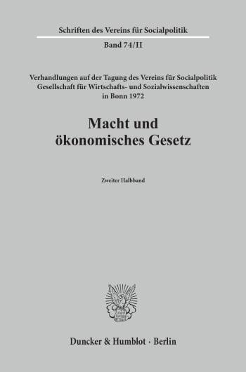 Cover: Macht und ökonomisches Gesetz