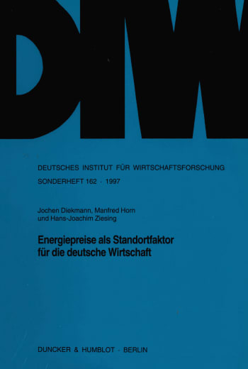 Cover: Energiepreise als Standortfaktor für die deutsche Wirtschaft