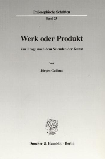 Cover: Werk oder Produkt