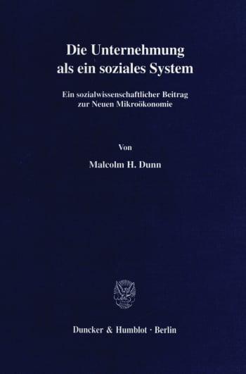 Cover: Die Unternehmung als ein soziales System