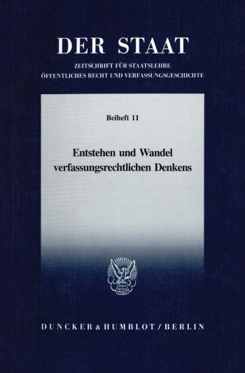 Cover: Entstehen und Wandel verfassungsrechtlichen Denkens