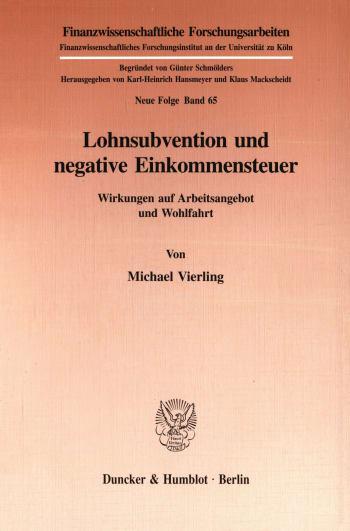 Cover: Lohnsubvention und negative Einkommensteuer
