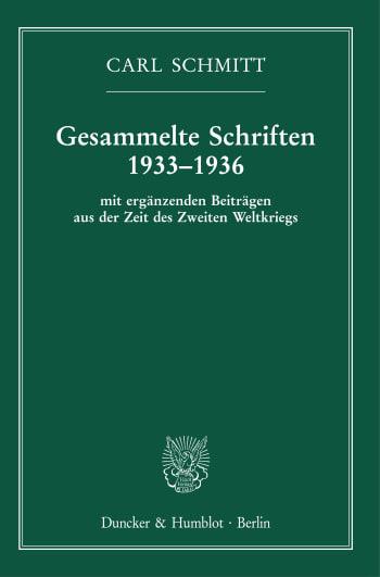 Cover: Gesammelte Schriften 1933–1936